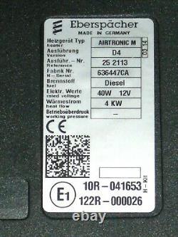 Eberspächer Airtronic D4 Diesel Standheizung 4 KW komplett Bausatz + Timer TOP